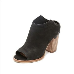 Dolce Vita Noa Peep Toe Mule Leather Booties.
